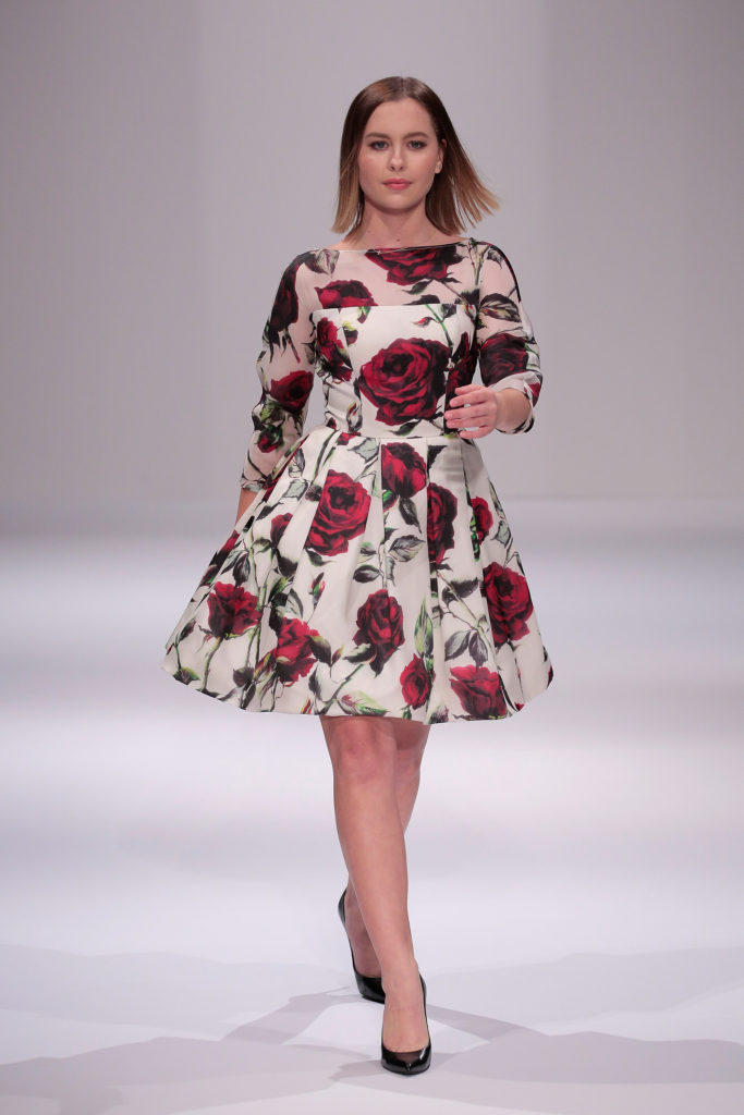 NEW YORK, NY - SEPTEMBER 12: Natasha Bure walks the runway during Sherri Hill fashion show during New York Fashion Week at Gotham Hall on September 12, 2016 in New York City. (Photo by Randy Brooke/Getty Images for Sherri Hill)